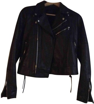 Diesel Black Gold Black Leather Leather Jacket for Women