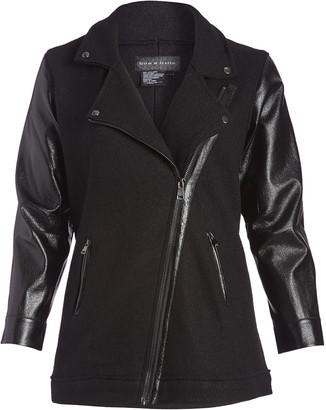 Live A Little Women's Non-Denim Casual Jackets BLACK - Black Wool-Blend Moto Jacket - Women
