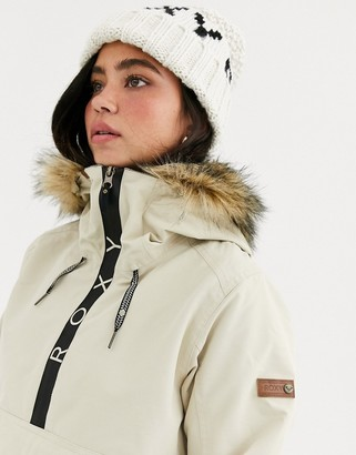 Roxy Shelter Ski Jacket With Faux Fur Hood In Cream