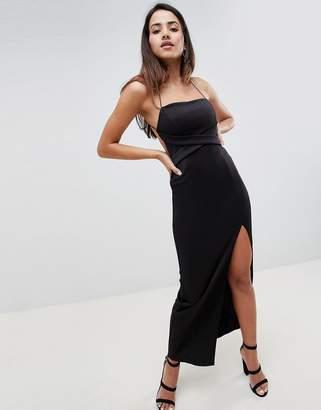 Asos Design DESIGN cross front strappy maxi dress-Black