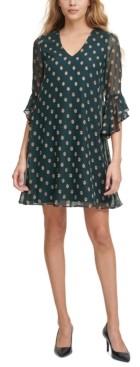 Calvin Klein Dot-Print Ruffle-Sleeve Dress