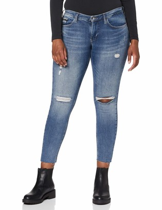 Calvin Klein Jeans Women's Mid Rise Skinny Ankle Raw Jeans