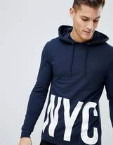 Asos Muscle Hoodie With Nyc Print In Navy