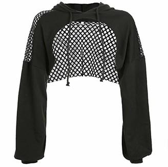 HUAZONG Womens Crop Tops Casual Fishnet Hollow Out Hooded Sweatshirt Hoodie Crop Sweatshirts Drawstring Jumper Hooded Pullover Fleece Patch Shirt Tops (Black M)