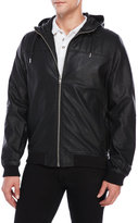 Bellfield Lundrum Hooded Faux Leather Jacket
