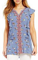 Blu Pepper Floral-Printed Split-V-Neck Top