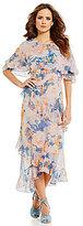 Gianni Bini Mac Floral Chiffon Tiered Ruffle Midi Dress