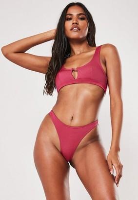 Missguided Raspberry Keyhole Scoop Neck Bikini Top