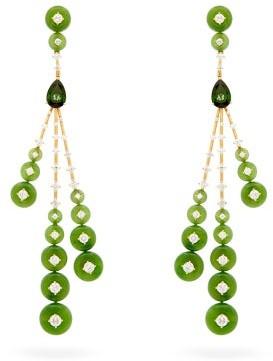 Fernando Jorge Rocket Diamond, Jade & 18kt Gold Earrings - Womens - Green