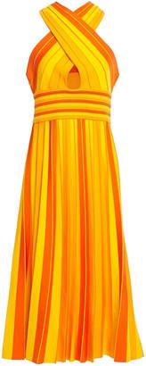 Carolina Herrera Knotted Pleated Striped Stretch-knit Midi Dress