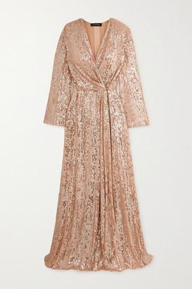 Jenny Packham Scarlett Sequined Chiffon Wrap Gown - Blush