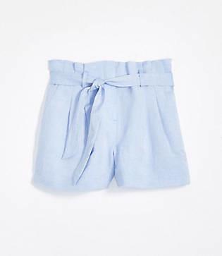 LOFT Petite Linen Blend Tie Waist Shorts