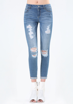 Bebe Destroyed Crop Skinny Jeans