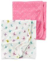 Carter's 2-Pack Butterfly/Polka Dot Swaddle Blankets