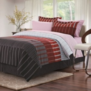 Brown & Grey Ombre Stripe 8-Piece Bed-In-Bag, Full Bedding