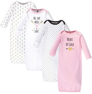 Hudson Baby Cotton Gowns, 4 Pack, 0-6 Months