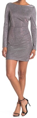 Jump Metallic Boatneck Long Sleeve Mini Dress