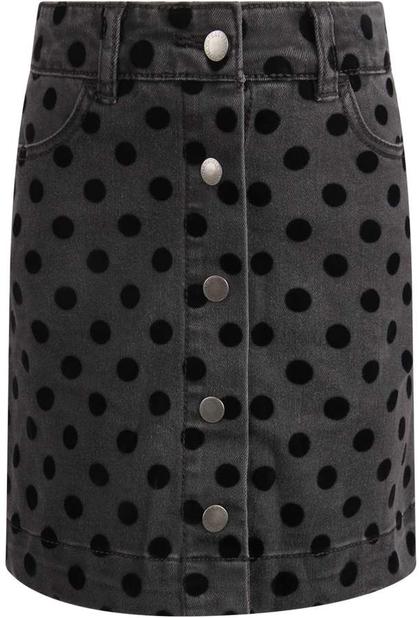 Stella McCartney Grey Girl Skirt With Black Polka-dots