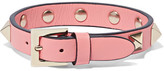 Valentino The Rockstud Leather And Gold-tone Bracelet - Pink