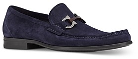 Salvatore Ferragamo Men's Grandioso Double Gancini Bit Suede Slip On Loafers - Regular