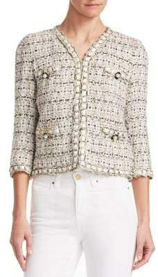 Edward Achour Braid Trim Embellished Cropped Jacket