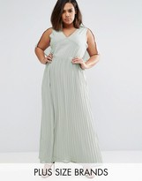 Club L Plus Pleated Maxi Dress With Kimono Sleeves