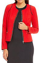 Calvin Klein Luxe Stretch Suiting Zip Front Faux-Leather Trim Jacket