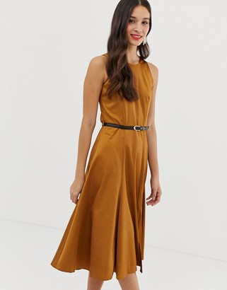 Closet London Closet fit and flare panel midi dress-Beige