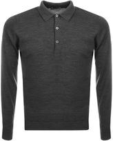 John Smedley Belper Knit Polo T Shirt Grey