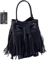 Donalworld Woen's Vintage Shoulder Bag Fringe Tassel Drawstring Bucketessenger Handbag Handbag
