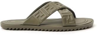 Fendi FF Logo Embossed Sandals