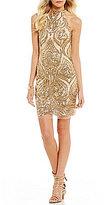 B. Darlin Sequin Swirl-Pattern Sheath Dress