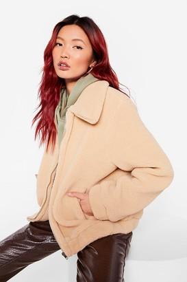Nasty Gal Womens Get Teddy For It Zip Faux Fur Coat - Beige - S