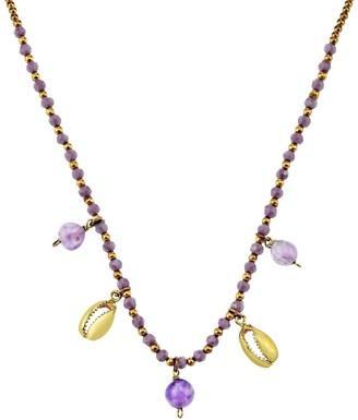 Aeravida Handmade Ocean's Treasure Cowrie Shell Amethyst Dangle Stone and Brass Beads Necklace