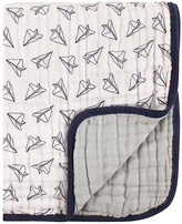 Hudson Baby White & Gray Paper Airplane Four-Layer Blanket