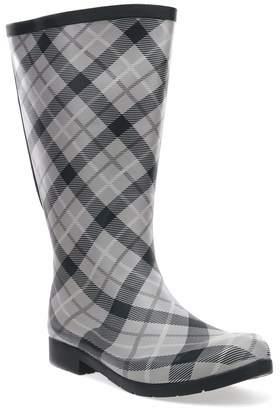Chooka Flex Fit Elastic Plaid Tall Boot