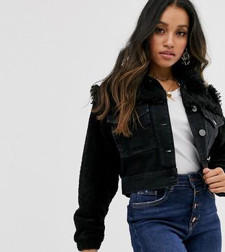 Asos DESIGN Petite denim jacket with borg detail in black