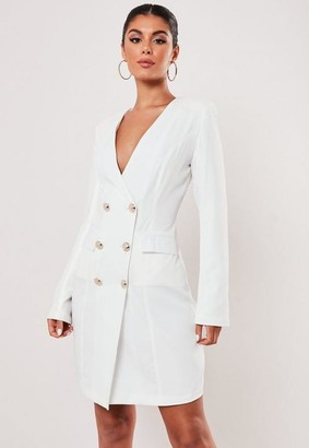Missguided Petite White Double Breasted Blazer Dress