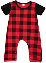 Albee Yang Baby Boy Summer Short Sleeve Plaid Romper Bodysuit Outfit Set