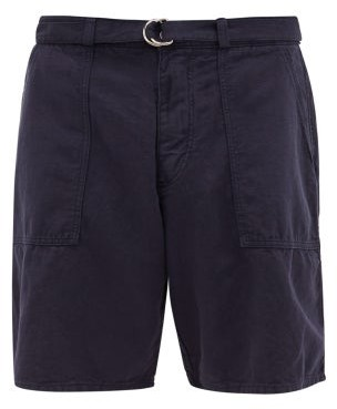 YMC Zipped-cuffs Cotton-blend Canvas Shorts - Mens - Navy