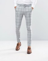 Asos Super Skinny Suit Pants In Green Window Pane Check