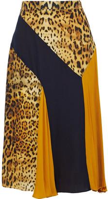 Cushnie Pleated Leopard-print Paneled Chiffon Skirt