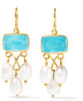 Katerina Makriyianni - Gold-plated, Pearl And Quartz Earrings - White
