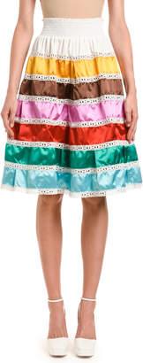 Prada Duchess-Striped Smocked-Waist Skirt