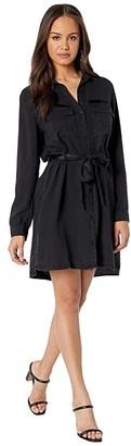 Bella Dahl Satin Tape Patch Pocket Dress (Washed Black) Women's Clothing