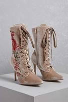 Forever 21 FOREVER 21+ Embroidered Floral Boots