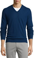 Loro Piana Cashmere V-Neck Sweater, Blue