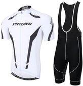YOUJIA Mens Short Sleeve Cycling Jersey Bib Shorts Cycling Clothing Set (, XL)