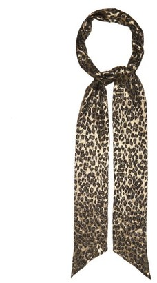 Saint Laurent Metallic Leopard Fil-coupe Chiffon Scarf - Womens - Brown