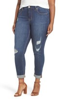Melissa McCarthy Destructed Roll Cuff Stretch Skinny Jeans (Lonesome) (Plus Size)